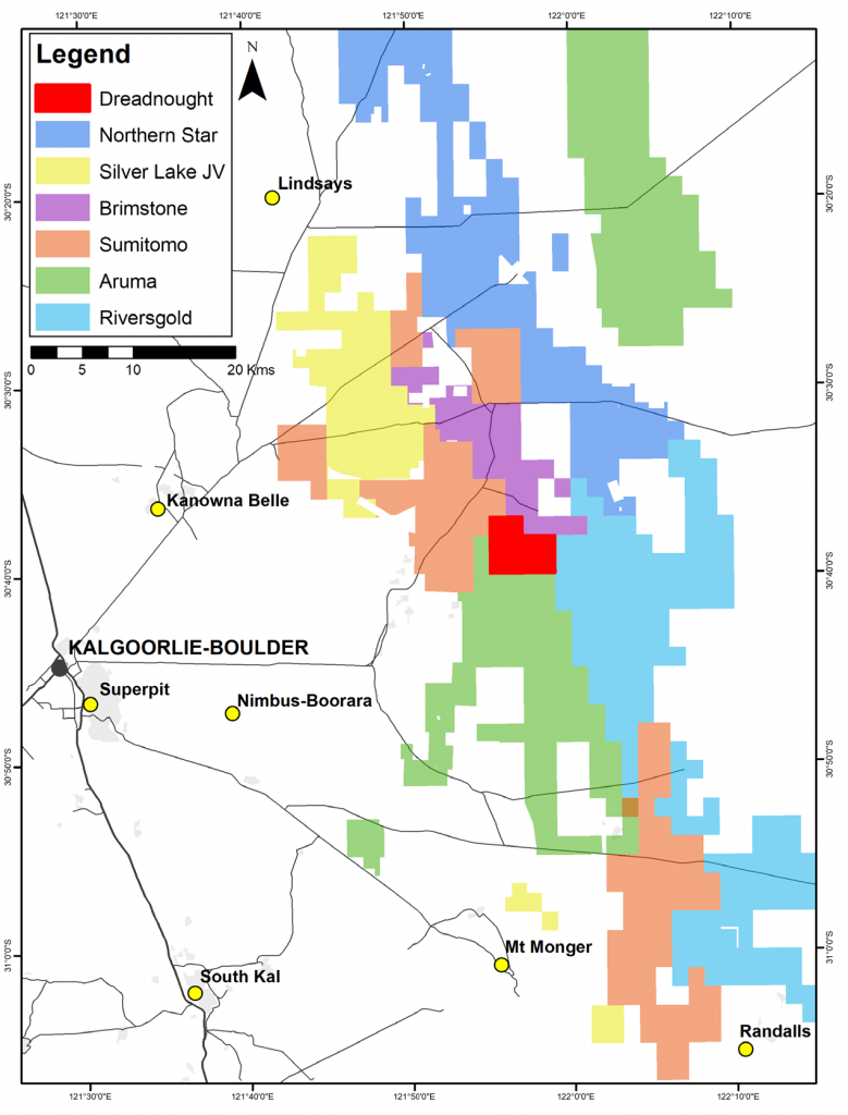 Location of the Rocky Dam Au Project in relation to operations around Kalgoorlie and significant neighbours